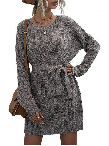 Crew Neck Heathered Sweater Dress - GRAY - L