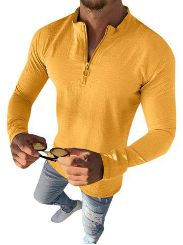 Plain O-ring Half Zipper Stand Collar Casual T Shirt - YELLOW - M
