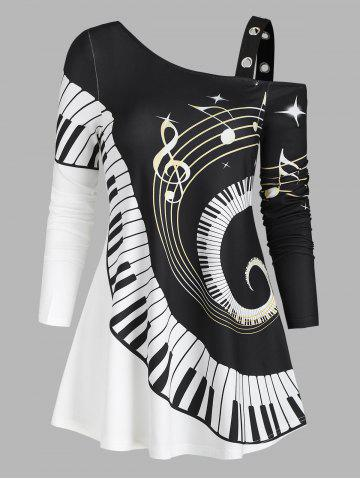 Swirl Piano Pattern Cold Shoulder Casual T Shirt - BLACK - L