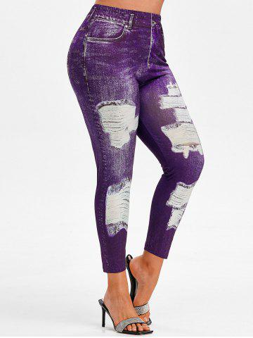 Plus Size High Rise 3D Ripped Jean Print Ninth Jeggings