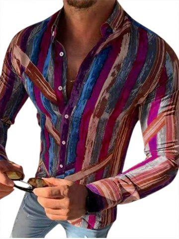 Brush Stroke Paint Pattern Button Down Casual Shirt - RED WINE - 3XL