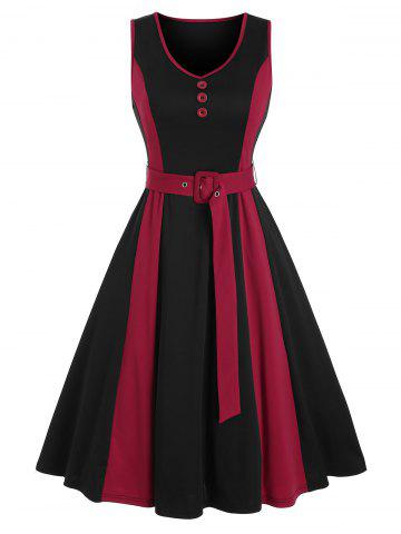 Mock Button Sleeveless Contrast Belted Dress