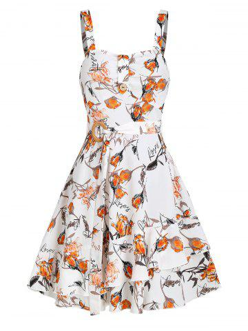 Sleeveless Floral Letters Print Belted Dress