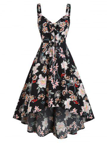 Flower Printed Lace Up A Line Dress