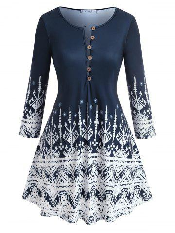 Plus Size Bohemian Geo Pattern Button T Shirt - DEEP BLUE - 4X