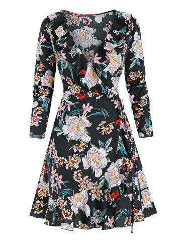 Flower Print Long Sleeve Wrap Dress