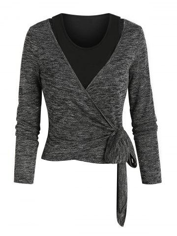 Knotted Heathered Wrap T-shirt and Cropped Tank Top - CARBON GRAY - M