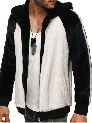 Raglan Sleeve Hooded Contrast Faux Fur Fluffy Jacket