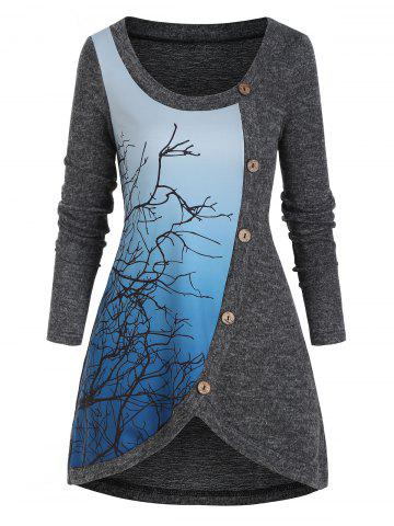 Ombre Tree Print Mock Button High Low T Shirt