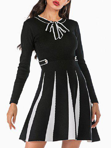 Knitted Mock Button Pussy Bow Two Tone Dress - BLACK - L