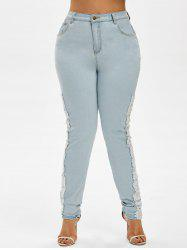 Plus Size Faded Lace Panel Skinny Jeans -