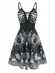 Halloween Skeleton Floral Print Lace-up Dress -