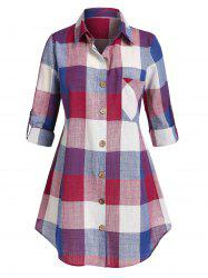 Plus Size Plaid Turn-down Collar Blouse -