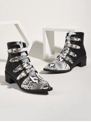 Snake Print Buckle Strap Chunky Heel Ankle Boots -