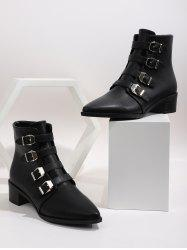 Plain Buckle Strap Pointed Toe Ankle Boots -