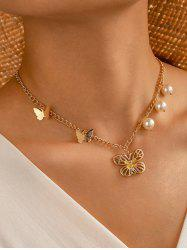 Faux Pearl Butterfly Pendant Chain Necklace -