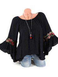 Flower Applique Flare Sleeve Tunic Blouse -