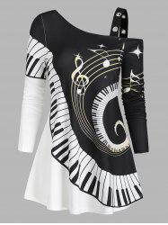 Swirl Piano Pattern Cold Shoulder Casual T Shirt -
