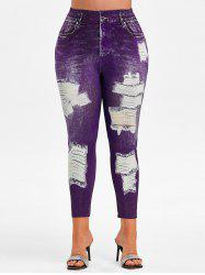 Plus Size High Rise 3D Ripped Jean Print Ninth Jeggings -