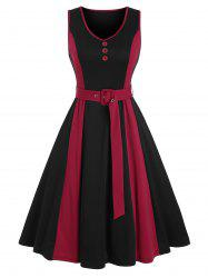 Mock Button Sleeveless Contrast Belted Dress -