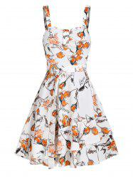 Sleeveless Floral Letters Print Belted Dress -