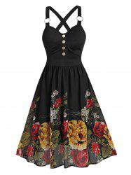 Flower Print Sleeveless O-ring Mock Button Dress -