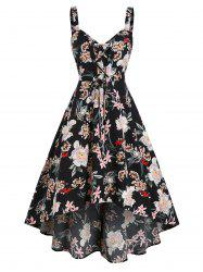 Flower Printed Lace Up A Line Dress -