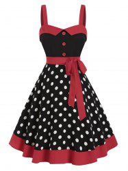 Sleeveless Polka Dot Print Belted Vintage Dress -
