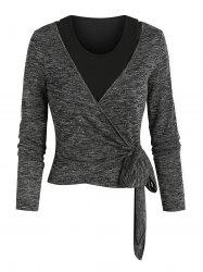 Knotted Heathered Wrap T-shirt and Cropped Tank Top -