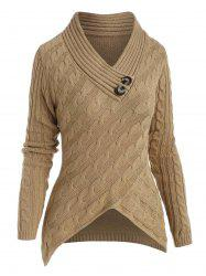 Cable Knit V Neck Dip Hem Sweater -