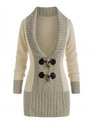Horn Button Colorblock Plunging Sweater -