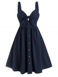 Tie Front Mock Buttons Plus Size Dress -