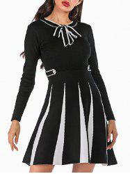 Knitted Mock Button Pussy Bow Two Tone Dress -