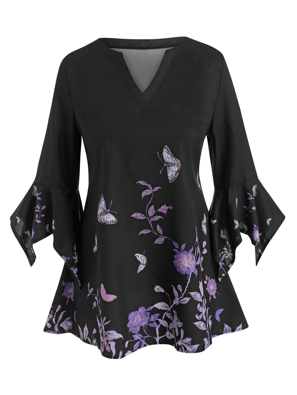 Fancy Floral Butterfly Flare Sleeve Top