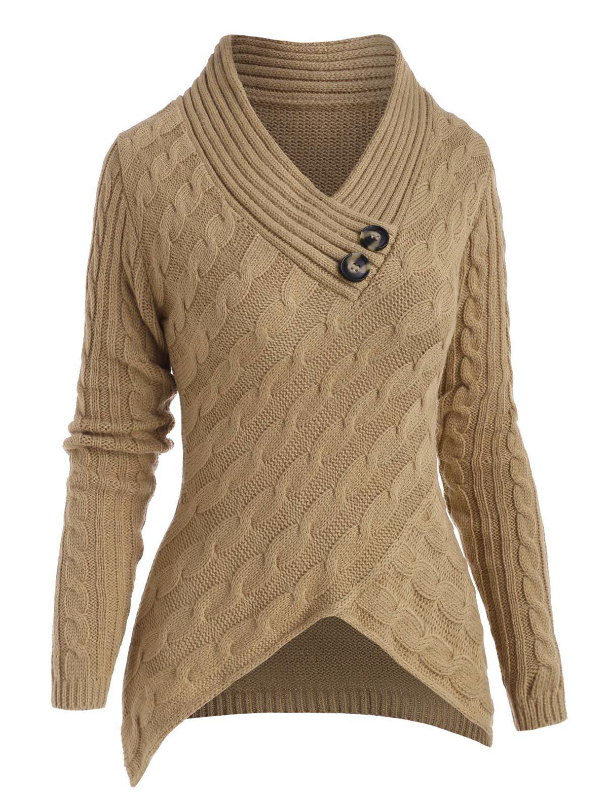 Discount Cable Knit V Neck Dip Hem Sweater