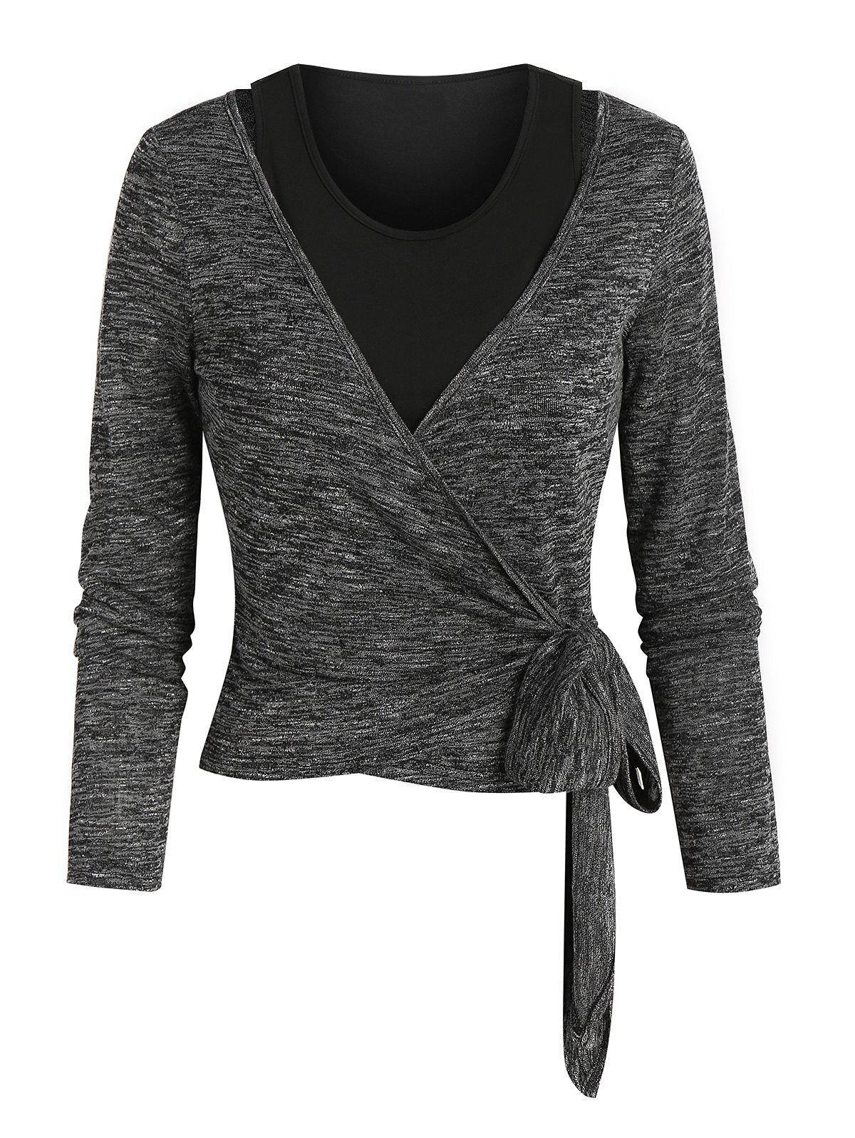 Store Knotted Heathered Wrap T-shirt and Cropped Tank Top