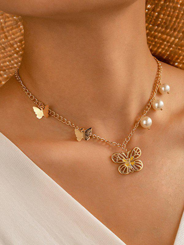 Affordable Faux Pearl Butterfly Pendant Chain Necklace