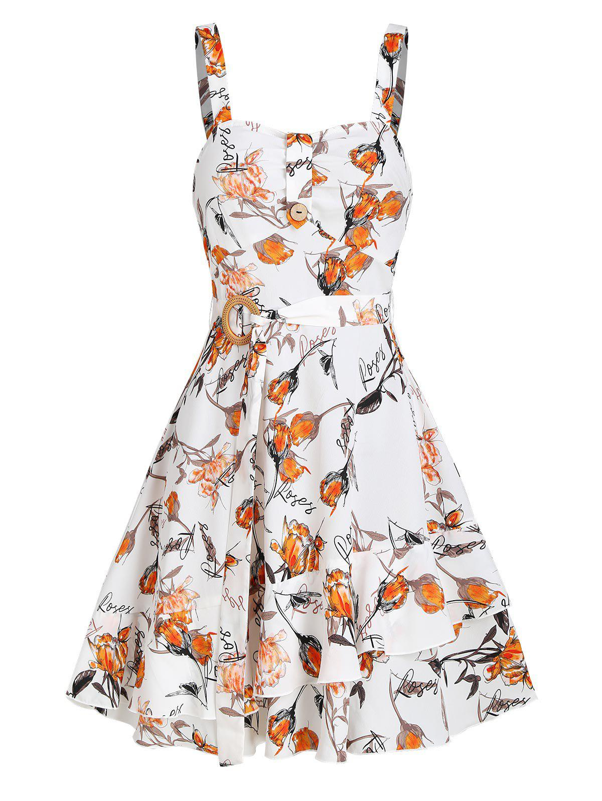 Chic Sleeveless Floral Letters Print Belted Dress