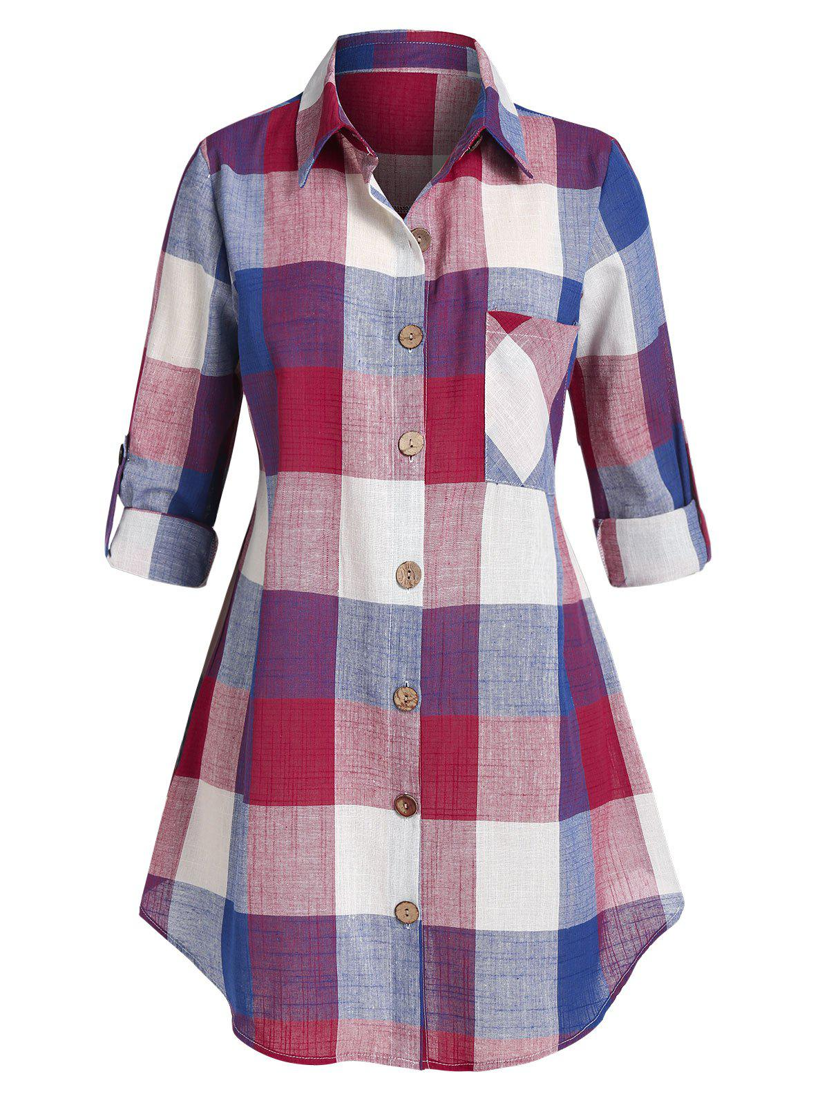 New Plus Size Plaid Turn-down Collar Blouse