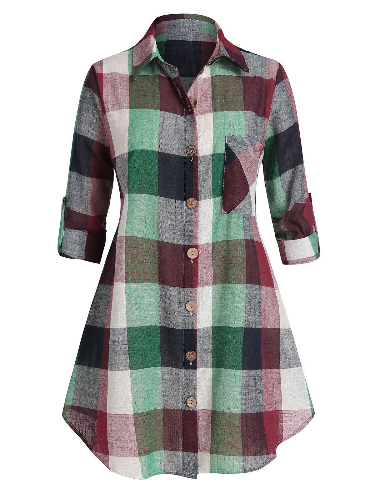 Affordable Plus Size Plaid Turn-down Collar Blouse