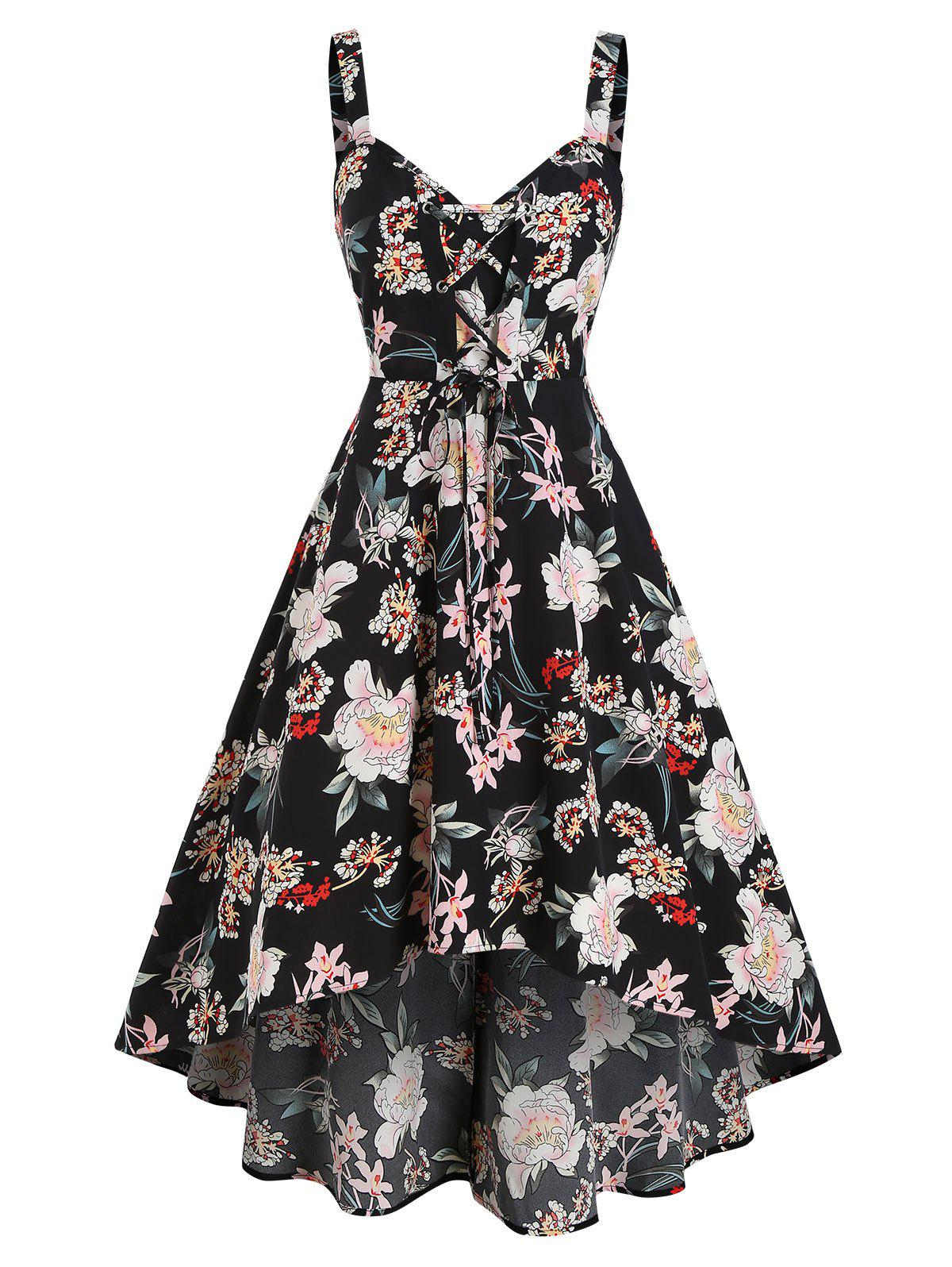 Cheap Flower Printed Lace Up A Line Dress