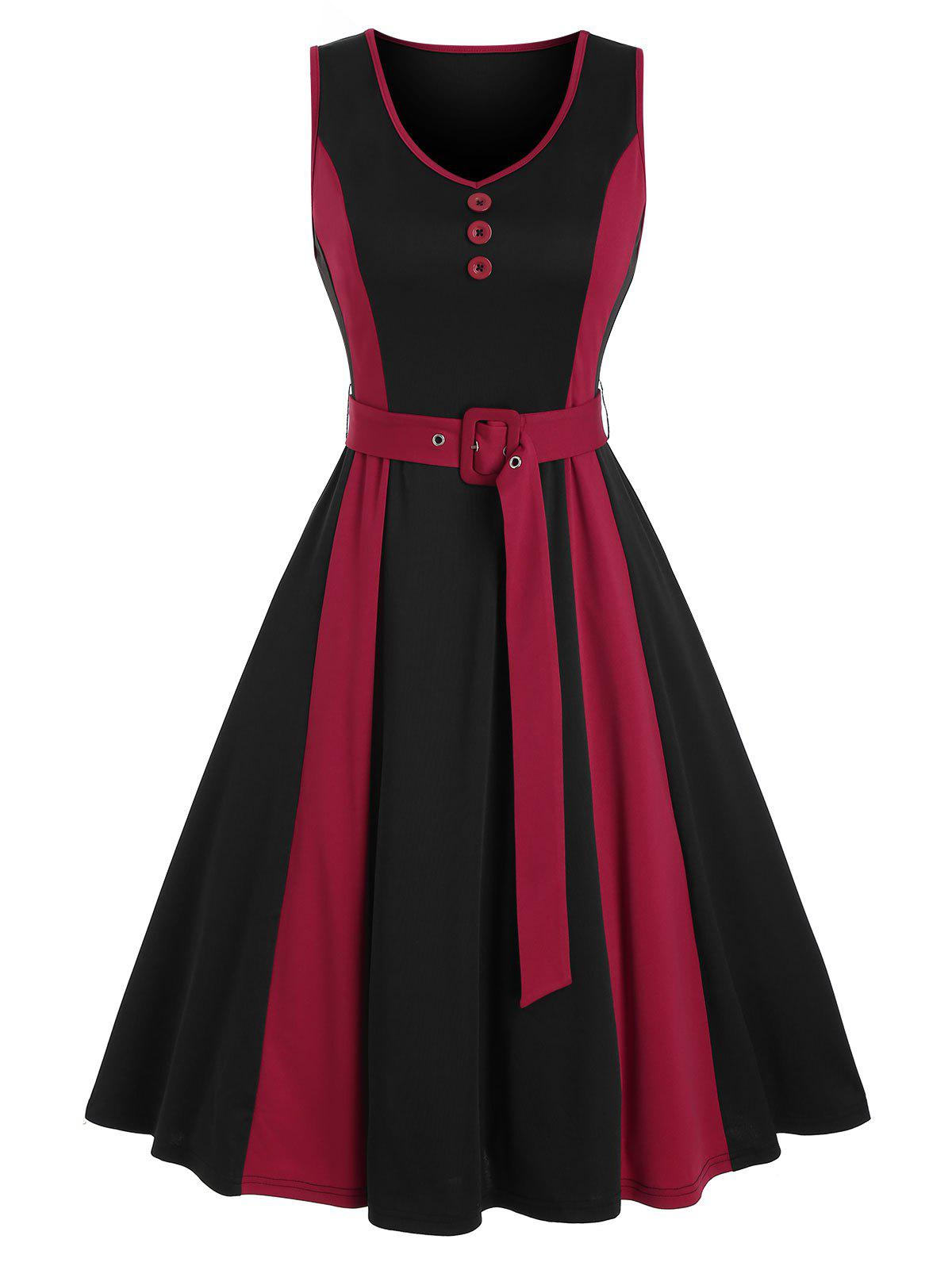 Trendy Mock Button Sleeveless Contrast Belted Dress