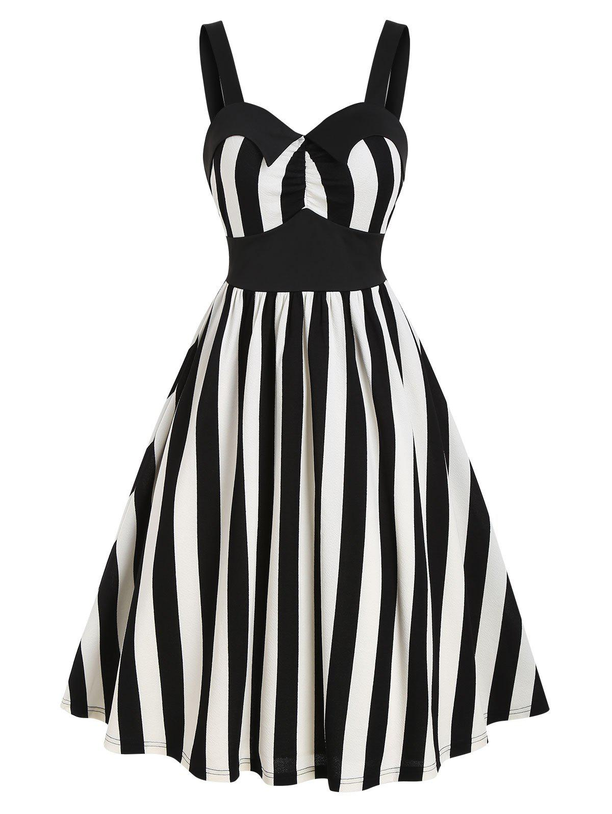 Unique Sleeveless Striped Print Vintage Flare Dress