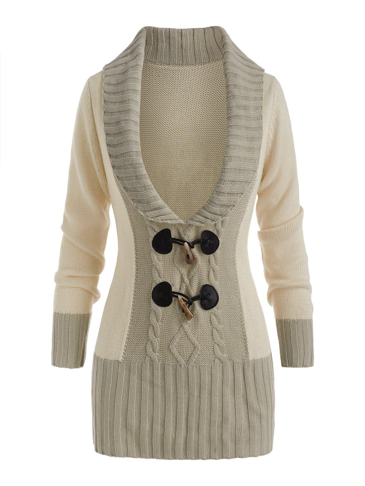 Trendy Horn Button Colorblock Plunging Sweater
