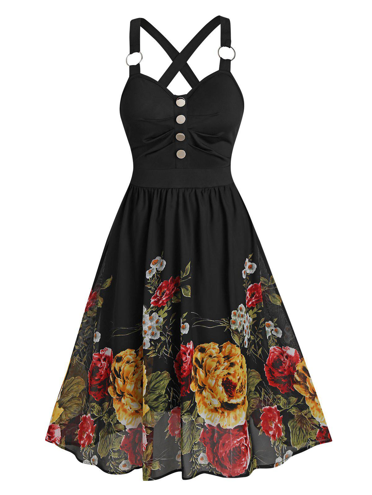 Discount Flower Print Sleeveless O-ring Mock Button Dress