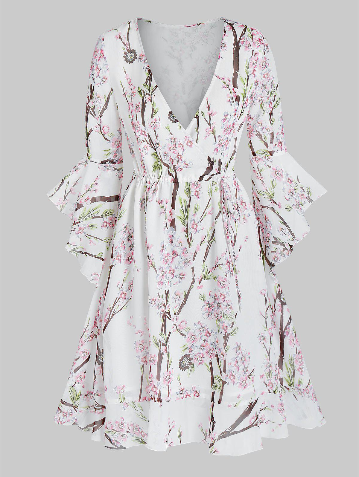 Unique Floral Print Plunge Neck Flounce Hem Dress