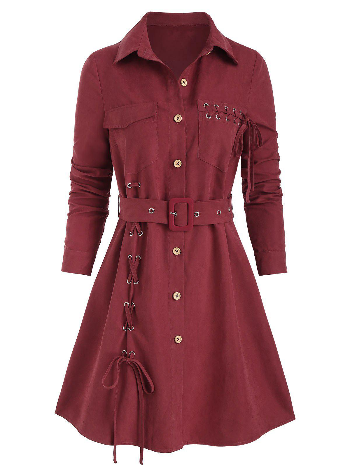 Buy Lace Up Belted Mini Shirt Dress