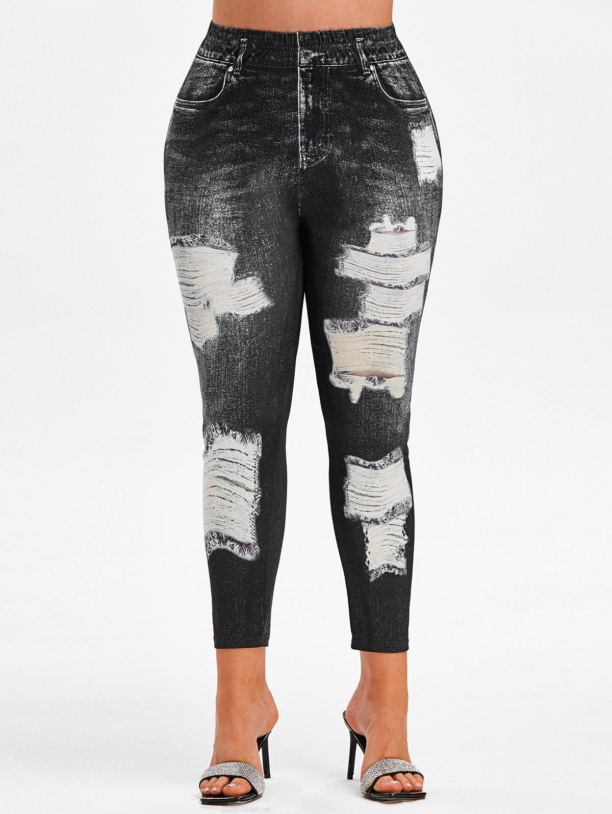 Trendy Plus Size High Rise 3D Ripped Jean Print Ninth Jeggings