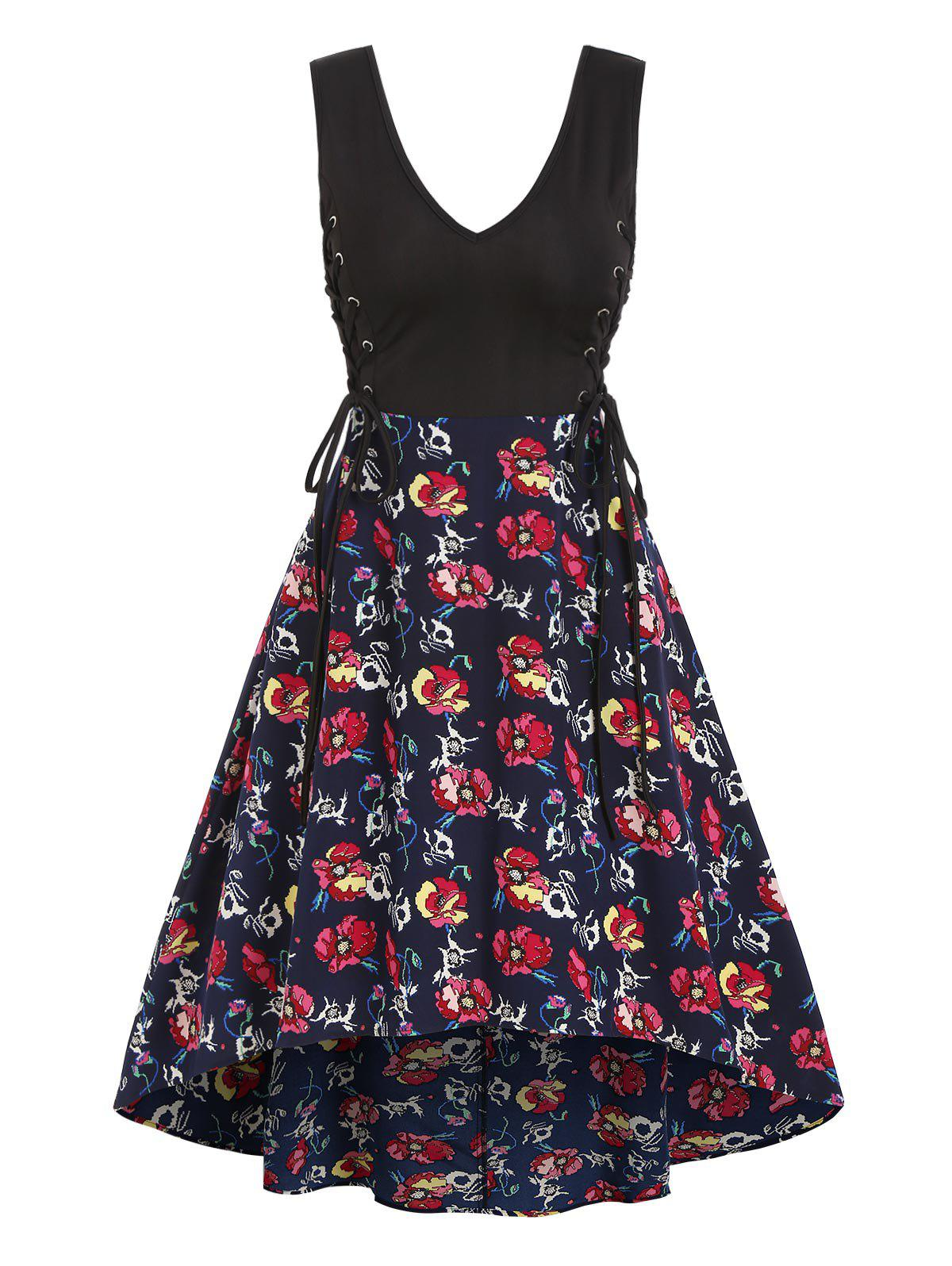 New Floral Skull Print Lace Up Sleeveless High Low Dress