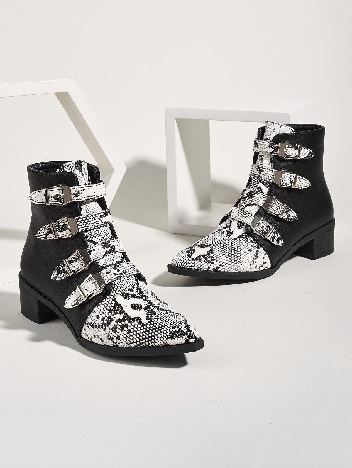 Affordable Snake Print Buckle Strap Chunky Heel Ankle Boots